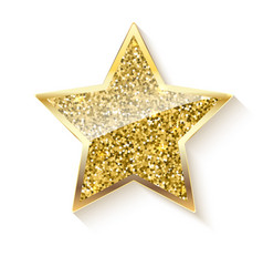 golden star with glitter and reflex vector image