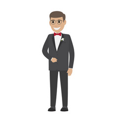 groom in wedding suit isolated on white young male vector image