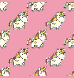 seamless pattern with unicorn in kawaii japanese vector image vector image