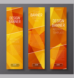 banners with abstract polygonal background gold vector image