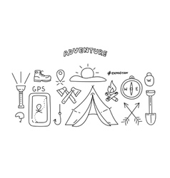 Line style objects for adventure and travel vector image vector image