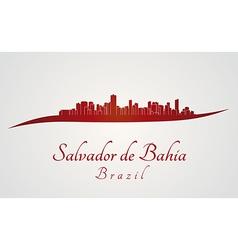 Salvador de Bahia skyline in red vector image vector image