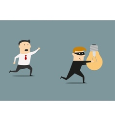 Thief stealing idea from businessman vector image vector image