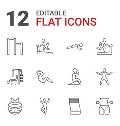 12 gym icons vector