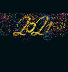 2021 happy new year hand drawn text lettering and vector image