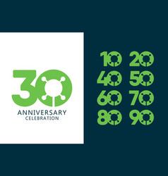 30 years anniversary celebration green logo vector