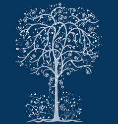 A decorative frozen tree with tendrils and blots vector