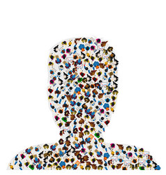 a group of people in a shape of a human head vector image
