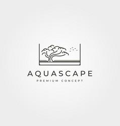 Aquascape bonsai logo line art symbol design vector