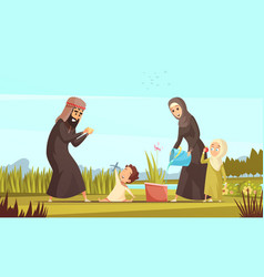 arab family life cartoon poster vector image