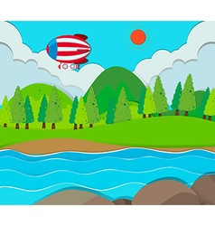 Balloon flying over the river vector image