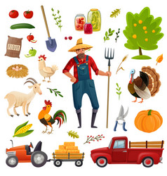 Big farm cartoon set vector