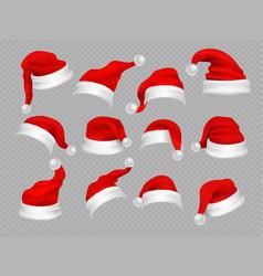 big set of realistic santa hats isolated vector image