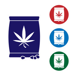 Blue marijuana or cannabis seeds in a bag icon vector