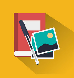 Book pen and pictures icon image vector