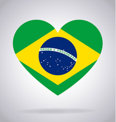 Brazil brasil flag in heart shape vector