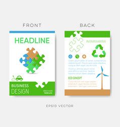 brochure eco design template with puzzle vector image