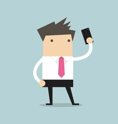 Businessman taking selfie using a mobile phone vector