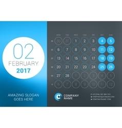 Calendar Template for February 2017 Design vector image vector image