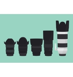 Camera lens slr collection with flat style vector