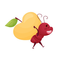 Cartoon ant character carrying huge apple on its vector
