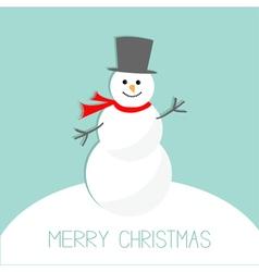 Cartoon Snowman on snowdrift Blue background Merry vector