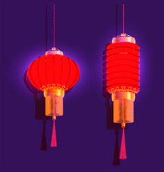chinese new year two red chinese lantern vector image