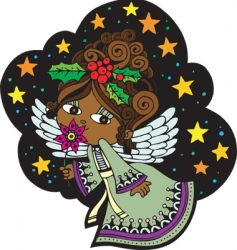 Christmas angel cartoon vector image