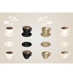 Coffee cups and saucers collection vector image
