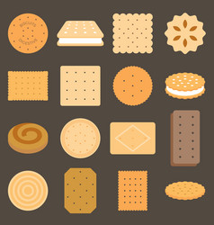 Collection biscuit in flat design vector