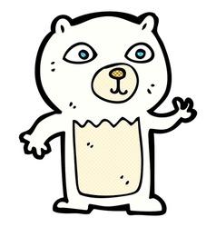 Comic cartoon waving polar bear cub vector
