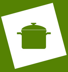 Cooking pan sign white icon obtained as a vector