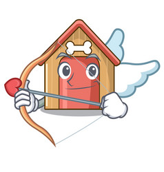 cupid cartoon funny dog house with dish vector image