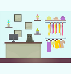 Cute female clothing store vector