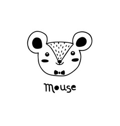 cute mouse simple rat face cartoon style vector image