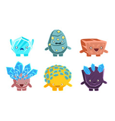 cute stones and crystals characters set friendly vector image