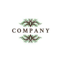deer leaf antlers logo design vector image
