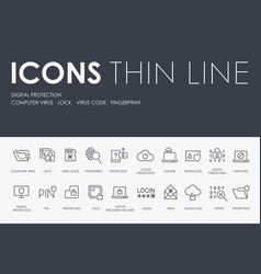 digital protection thin line icons vector image
