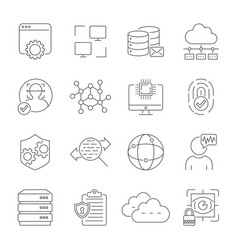 digital technology related line icons vector image