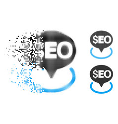 Dispersed dotted halftone seo geotargeting icon vector