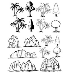 Doodles nature set with trees and rocks vector