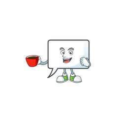 Drinking in cup rectangle bubble for comic column vector