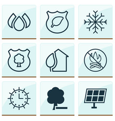 Ecology icons set collection of snow home sun vector