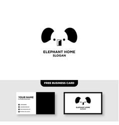 Elephant farm logo design and business card vector