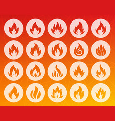 fire shape carved flat icons set vector image