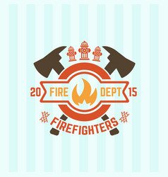 flame in a circle and two crossed axes emblem vector image