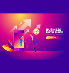 flat design isometric concept with man and vector image