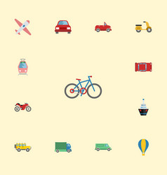 Flat icons carriage jeep bicycle and other vector