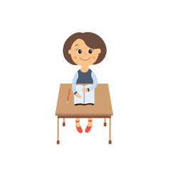Flat schoolgirl sitting at desk isolated vector
