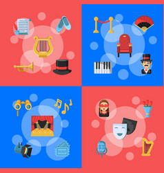 flat theatre icons infographic concept vector image